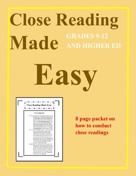 Close Reading Made Easy: A Guide on How to Conduct Close Readings