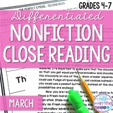 March Nonfiction Close Reading Comprehension Passages and