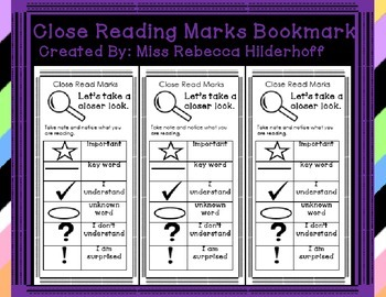 Close Reading Marks Bookmark