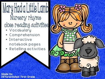 Close Reading - Mary Had a Little Lamb - Nursery Rhyme - Beginning Readers