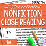 May Differentiated Nonfiction Close Reading Comprehension Passage and Questions