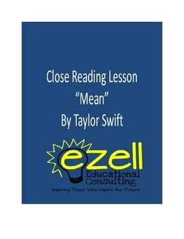"""Close Reading """" Mean"""" by: Taylor Swift"""