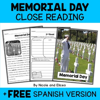 Close Reading Passage - Memorial Day Activities
