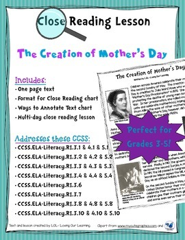 Mother's Day- Close Reading Grades 3-5