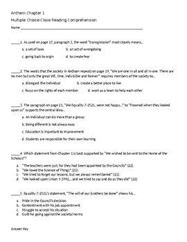 Close Reading Multiple Choice Questions Chapter 1 Anthem
