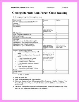 Close Reading: Rain Forests from NATURE'S GREEN UMBRELLA by Gail Gibbons
