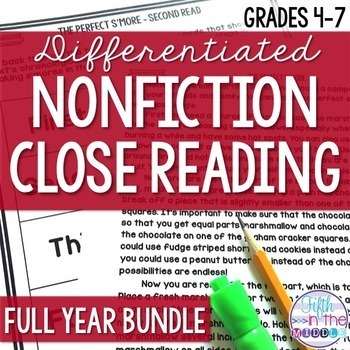 Differentiated Nonfiction Close Reading Texts Full Year Bundle {August-June}