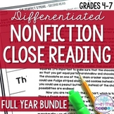 Nonfiction Close Reading Comprehension Passages and Questions Bundle {Aug-June}
