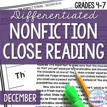 December Differentiated Nonfiction Close Reading Texts and Activities