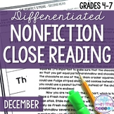 December Nonfiction Close Reading Comprehension Passages a