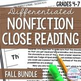 Nonfiction Close Reading Comprehension Passages Fall Bundle {August-November}
