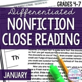 January Nonfiction Close Reading Comprehension Passages an
