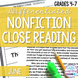 June Nonfiction Close Reading Comprehension Passages and Q