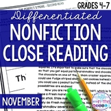 November Nonfiction Close Reading Comprehension Passages a