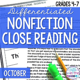 October Nonfiction Close Reading Comprehension Passages an