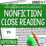 September Nonfiction Close Reading Comprehension Passages