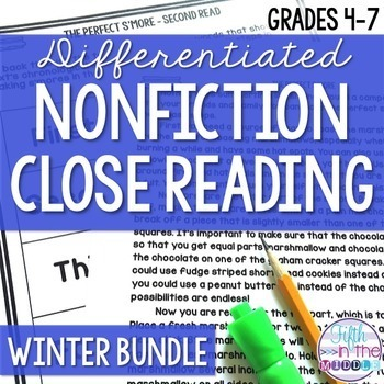Differentiated Nonfiction Close Reading Texts Winter Bundle {December-February}