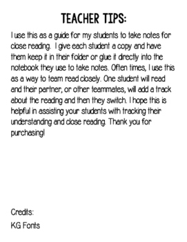 Close Reading Note Taking Guide