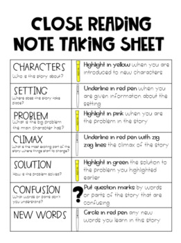 Close Reading Note Taking Sheet