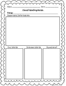 Close Reading Notes Templates