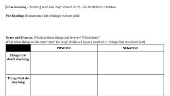 "Close Reading - ""Nothing Gold Can Stay"" Robert Frost - The Outsiders S E Hinton"