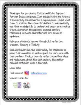 **Close Reading - Notice and Note** Partner Discussion Packet