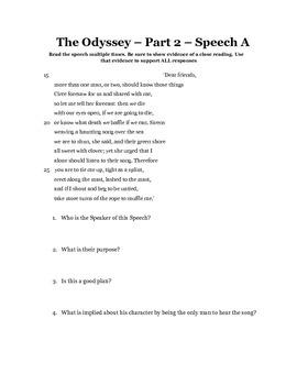 Close Reading Odyssey Part 2 Speeches
