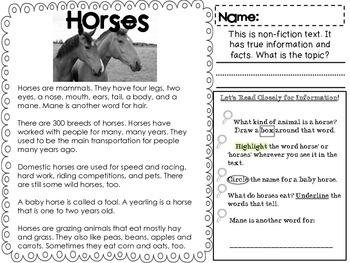 Close Reading Pack Farm Animals