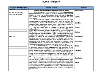Close Reading Paleolithic and Neolithic SS.6.W.2.1, SS.6.W.2.2