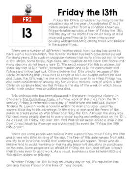 Close Reading Passage: Friday the 13th