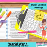 World War 1 - WWI - World War One: Non-Fiction Reading Passage