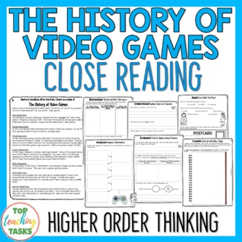 History of Video Games Close Reading Comprehension Passages and Questions US NZ