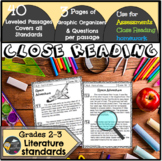 Close Reading Passages/Reading Assessments 2nd/3rd Grade (Literature)