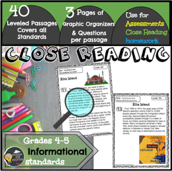 Close Reading Passages 4/5th grade (Informational Texts)