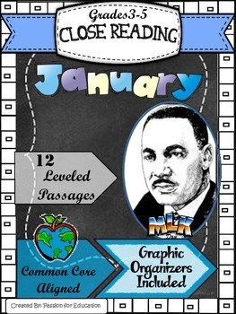 Close Reading Passages 3rd-5th grade January Theme (Informational Texts)