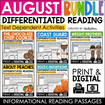 Reading Comprehension Passages and Questions - August Close Reading Bundle