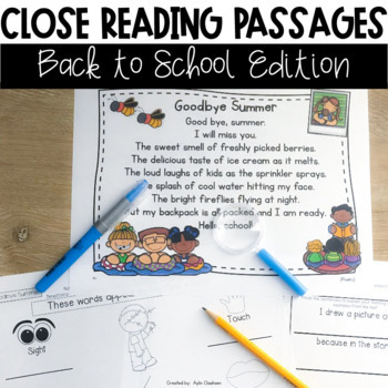 Close Reading Passages: Back to School Edition
