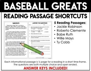 Close Reading Passages - Baseball Legends - Close Reading Shortcuts