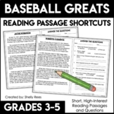 Reading Comprehension Passages - Baseball Legends - Close Reading Shortcuts