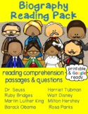 Biographies: Reading Comprehension Passages & Questions Pack