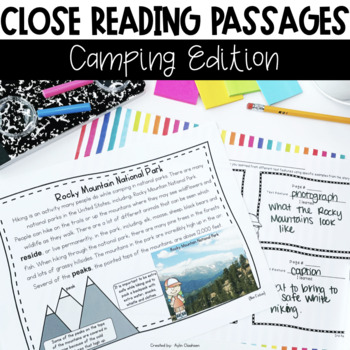 Close Reading Passages: Camping Edition