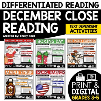 Reading Comprehension Passages and Questions - December Close Reading Bundle