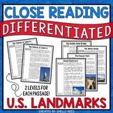 US Landmarks Reading Comprehension Passages and Worksheets Bundle