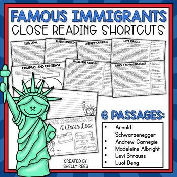 Close Reading Passages - Famous Immigrants - Close Reading Shortcuts