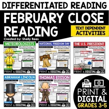 Reading Comprehension Passages and Questions - February Close Reading Bundle