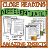 Reading Comprehension Passages and Questions - Insects Close Reading