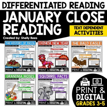 Close Reading Passages - January-Themed Differentiated Reading Passages
