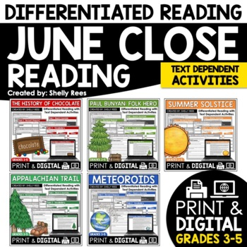 Close Reading Passages - June-Themed - Differentiated Reading Passages