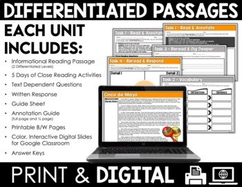 Close Reading Passages - May-Themed - Differentiated Reading Passages