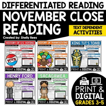 Close Reading Passages - November-Themed - Differentiated Reading Passages